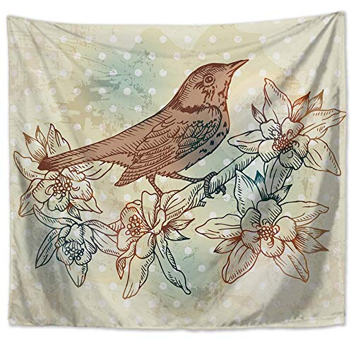 YUANOMWJ Tapiz De Pared,Personalidad Moderna Moda Flor Y Pájaro Animal, Tapiz De Mandala Hippie Hippy Celestial Indio Trippy Bohemio Tapices, 130X150Cm