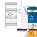 HERMA Etichette per Custodie CD, 114,3 x 5,5 mm, Etichette Adesive A4 per Stampante, 48 Etichette per Foglio, Bianco