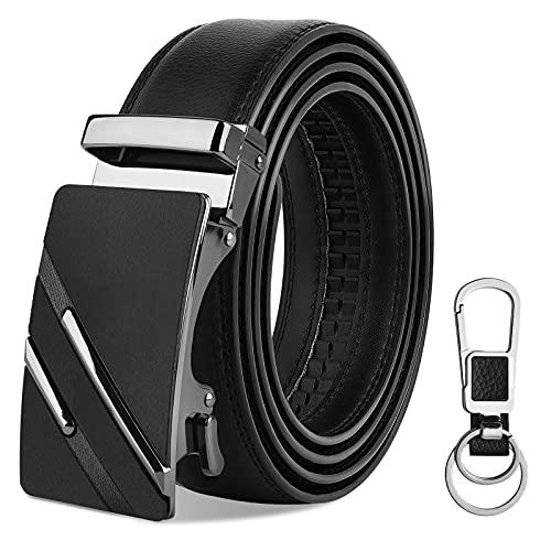 VBIGER Cinturón Cuero Hombre - Cinturones Hebilla Automática Negra para Jeans y Trajes (120 cm: Adecuado para el Tamaño de la Cintura: 28