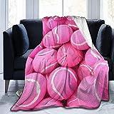 Manta de lana, color rosa brillante, con diseño de pelotas