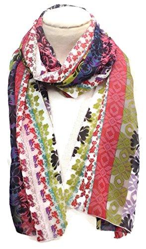 HomeSewBeautiful Handmade Scarf Stripe Medallion Print Colorful Polyester