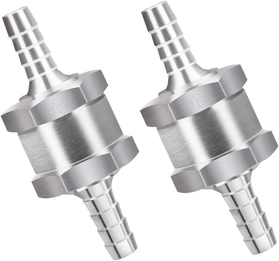 BOYISEN 8mm 5//16 Aluminium Non-return One Way Check Valve Petrol Diesel Oil 5//16 2 Packs 8mm
