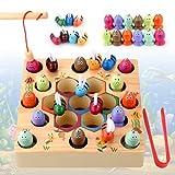 YIKANWEN Juego de pesca magnético 2 en 1 Montessori, juguete educativo con tablero magnético, juguete de madera para niños y niñas, con varillas magnéticas
