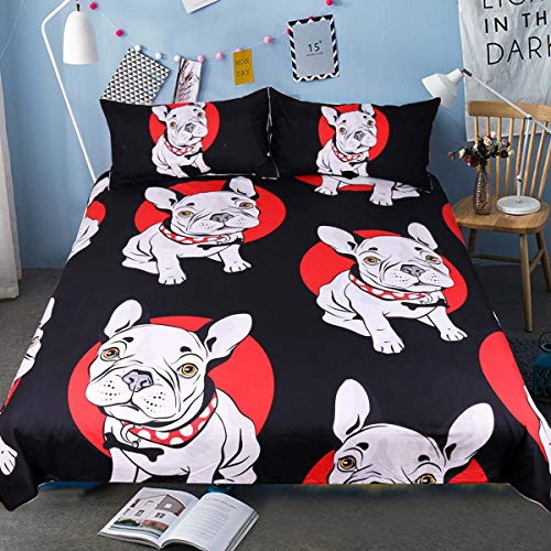 Sleepwish Bulldog Duvet Cover Black Red Cartoon Bedding Twin for Kids 3 Piece Dog Print Comforter Cover Sets
