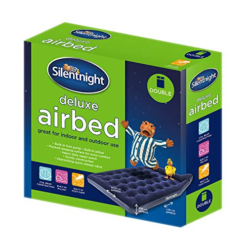 Silentnight Deluxe Airbed Double-Air Mattress with Built-in Foot Pump for Camping, flock, Blue