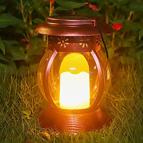 Lanterna Solare Esterno, ANTING Lampada da Giardino Sospesa Luci Solari Esterno Effetto Candela Senza Fiamma IP44 Impermeabile LED Lanterna Decorativo per Patio Cortile Parco Prato Terrazza