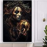 Póster y pintura 60x90cm sin marco Póster de mujer negro y dorado Pinturas de gran tamaño en la pared Impresiones de figuras femeninas en la pared Loft