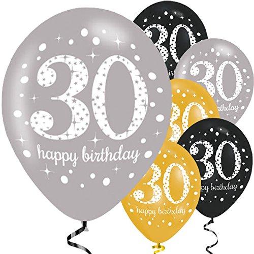 Feste Feiern Luftballon Set zum 30. Geburtstag, 30ter Geburtstag Deko Mann Frau, Gold Schwarz Silber metallic 6 Stück Zahlenballon 30 Happy Birthday Jubiläum