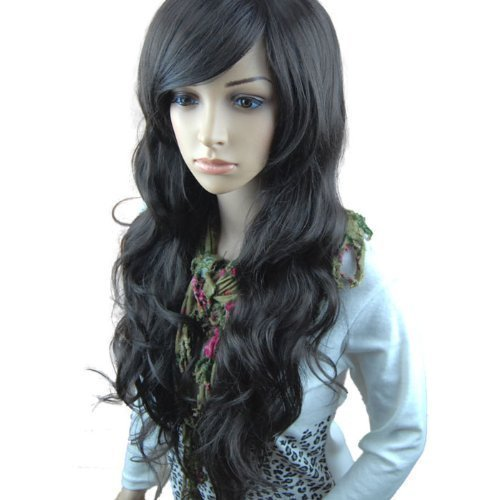 MelodySusie Black Long Big Curly Wavy Wig for Women, 31.5'Curly Wig with Inclined Bangs Synthetic Wigs Cosplay Daily Party Wig With Free Wig Cap, Black
