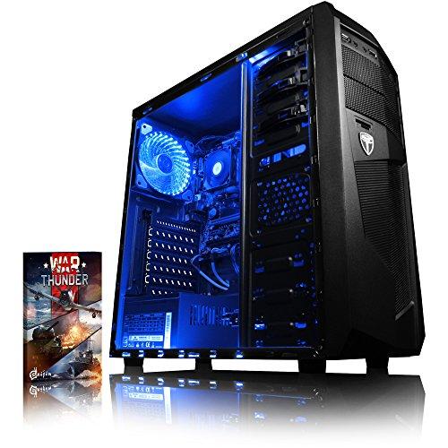 VIBOX Black-Ice LA12-17 Gaming PC Computer mit War Thunder Spiel Bundle (4,2GHz AMD A12 Quad-Core Prozessor, Radeon R7 Grafik Chip, 4Go DDR4 2133MHz RAM, 120GB SSD, 4TB HDD, Ohne Betriebssystem)