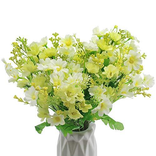 UBERMing 4 Bouquet 28 Köpfe Künstliche Blumen Bouquets Mini Gänseblümchen Weiß Daisy Blume Seide Plastikblumen für Familie Büro Garten Hochzeit Party Dekor