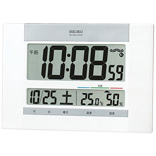 セイコー クロック 掛け時計 置き時計 兼用 電波 デジタル カレンダー 快適度 温度 湿度 表示 薄型 白 パール SQ429W SEIKO