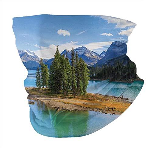 Q&SZ Sweatshirt Outdoor Headband Lake House Decor Collection Maligne Lake in Jasper Natioanal Park Alberta Canada Summer Day Outdoor Picture Green Blue Scarf Neck Gaiter Face Bandana Scarf Head Scarf