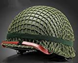 world war 2 helmets - GPPPerfect WWII US Army M1 Green Helmet Replica with Net/Canvas Chin Strap