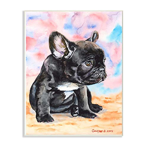 Stupell Industries French Bulldog Puppy Dog Pet Animal Watercolor Painting Wall Plaque, 12 x 18, Multi-Color