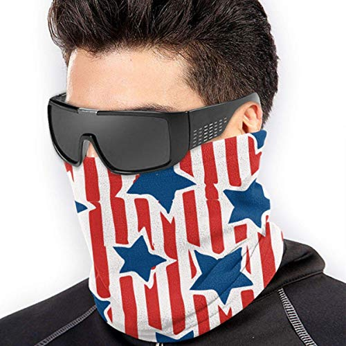 ShiHaiYunBai Tour de Cou Cagoule Microfibre Chapeaux Tube Masque Visage, Stars & Stripes Men's Women's Face Mask Windproof Neck Neck Gaiter For Snowboarding