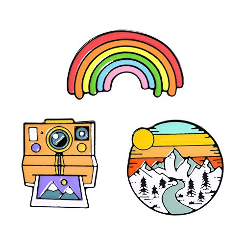 Rainbow Sunset Mountains Retro Polaroid Cámara Cinta de película Broche creativo Pin...