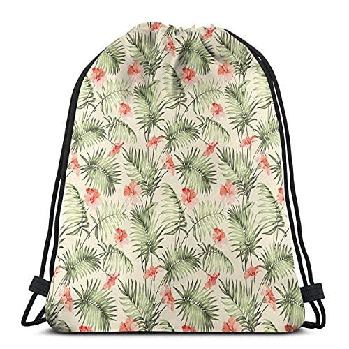 Hawaiian Aloha modello natura con elementi della foresta pluviale di palma rami ibisco, chiusura regolabile stringa stampato coulisse zaini borse