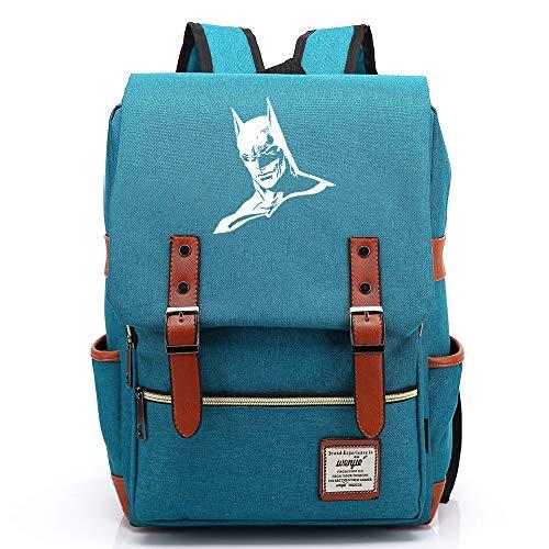 Batman The Dark Knight The Bat Rucksack Herren Schulrucksack, Laptop-Rucksack für Jungen Mädchen Für 14-Zoll-Laptop 16inch Unisex Leichte 17L College-Rucksack Daypack (Blau,11)