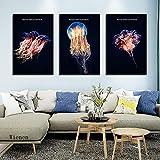 Cuadros Decoración arte de pared carteles de medusas nórdicas fondo negro lienzo pintura acuario decoración e imágenes para sala de estar 50x70cmx3 sin marco