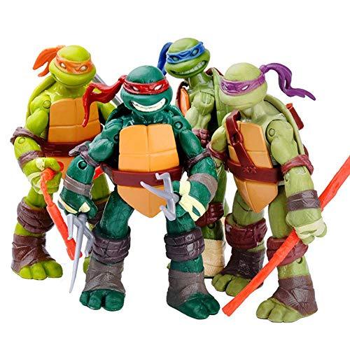 LZH Anime Teenage Mutant Ninja Turtles Set di 4 Modelli Articolati Personaggi degli Anime per Bambini Personaggi Compleanno Gift Collection 12cm
