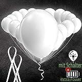 LumeeStar Premium 20 leuchtende Luftballons mit LED & Schalter | extra Lange Leuchtdauer - 48h | Heiraten Partyzelt Jugendweihe | 30 cm