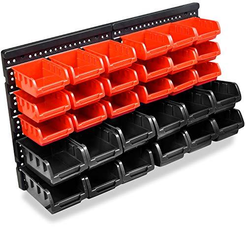HENGMEI Stapelboxen Wandregal 32tlg Stapelregal Box Sichtlagerkästen Boxenregal Steckregal Schüttenregal Hängeregal