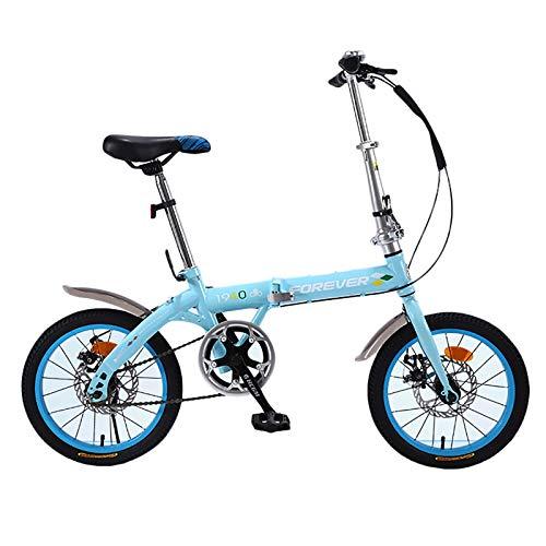 ZLI Bicicletas Infantiles Bicicleta de Viaje Azul - Ruedas 16in/20in Entrenador de Adultos/Adolescente Masculino Bicicleta Deportiva con Manillar Ajustable y de Asiento, Mejor Regalo de Cumple