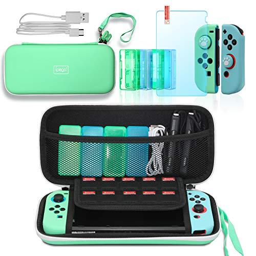 12-in-1-Zubehör-Set für Nintendo Switch Lite, inkl. Schalter-Tragetasche, Silikon-Joy-Con-Schutzhüllen, Spielkartenhüllen, Displayschutz aus gehärtetem Glas, Daumengriffkappen und USB-Typ-C-Ladekabel