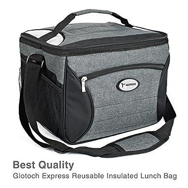 Glotoch Large Meal Prep Bag Cooler Bag Insulated Lunch Bag Box Adult Lunch Box Large Cooler Tote Bag for Men, Women, Children (Black)