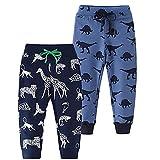 Yvelands 2er Pack Kinder Jogginghose Jungen Baumwolle Sweathose Dinosaurier Karikatur Gedruckt Hosen Sporthose Jogger Pants 1-7 Jahre