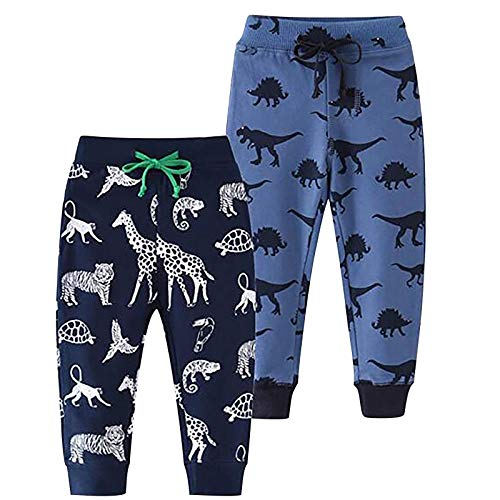 2PC Boy's Cartoon Print Pants Animal Pattern Jogger Trousers Drawstring Elastic Waist Pockets Sweatpants