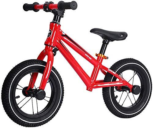 XIUNI 14 Zoll Balance Bike ohne Pedale,Carbon Steel Frame Strider Fahrrad Sitzhöhe Verstellbare rutschfeste Reifen Trainingsfahrzeug für 3-6 jährige Jungen Mädchen,Rot