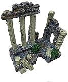 JILYEMOY Resina Sólida Vintage Columna Romana Acuario Decoraciones Tanque de Peces Roca Ruinas Plantas Decoración Acuario Decoración Ornamentos