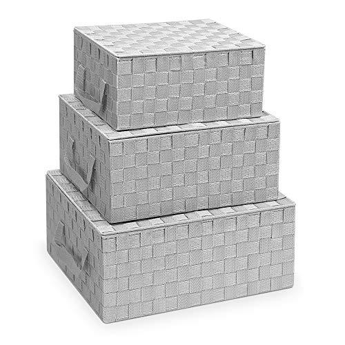 Navaris 3X Caja de Almacenamiento Tejida - Cestas con Tapa para almacenaje de Objetos Ropa - Juego Organizador de Cubos - Cajas rígidas en 3 tamaños