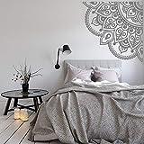 LSMYM Mandala Tatuajes de pared Decoración del dormitorio Arte de la pared Maditación Decoración de la habitación Vinilo Pegatinas de pared Habitaciones Calcomanías de esquina gris S 42cm X 42cm