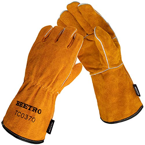 BEETRO Welding Gloves, Cow Leather Forge/Mig/Stick Welder Heat/Fire Resistant, Mitts for Oven/Grill/Fireplace/Furnace/Stove/Pot Holder/Tig Welder/Wood Burner/BBQ/Animal handling glove with Soft Lining, 1 Pair