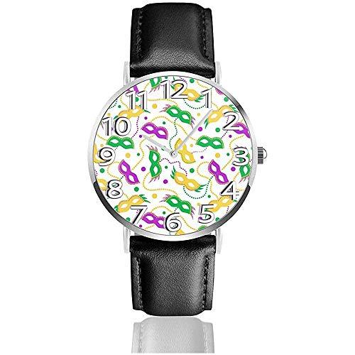 Mardi Gras Karneval Masken Perlen Uhren Pu-Leder Armbanduhr Quarzuhr
