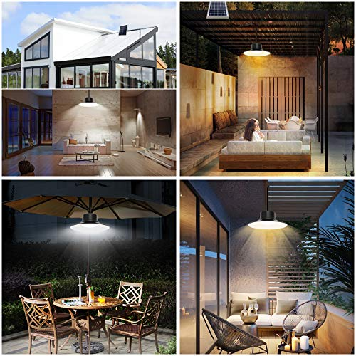 Solar Lights Outdoor, NIORSUN LED Solar Pendant Light 3000K|4000K|5000K| Dimmable Lighting with Remote Control, 16.4ft Cable IP66 Waterproof for Patio, Garage, Camp, Chicken Coop, Shed Barn