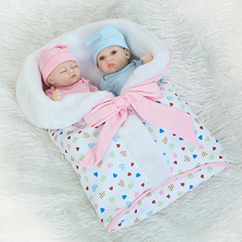 Funny House 10inch26cm Real Life Like Full Silicone Body Reborn Baby Doll Twins Realistic Newborn Dolls Girl and Boy for Baby Anatomically Correct Birthday or Xmas Gift