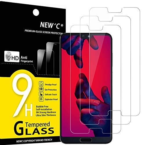 NEW'C Lot de 3, Verre Trempé Compatible avec Huawei P20 Pro, Film Protection écran sans Bulles d'air Ultra Résistant (0,33mm HD Ultra Transparent) Dureté 9H Glass