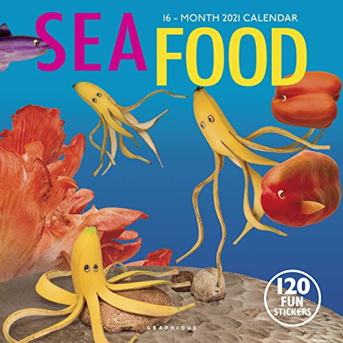 """Graphique Sea Food Wall Calendar - 16-Month 2021 Calendar, 12""""x12"""" w/3 Languages, 4-Month Preview, & Marked Holidays (CY24321)"""