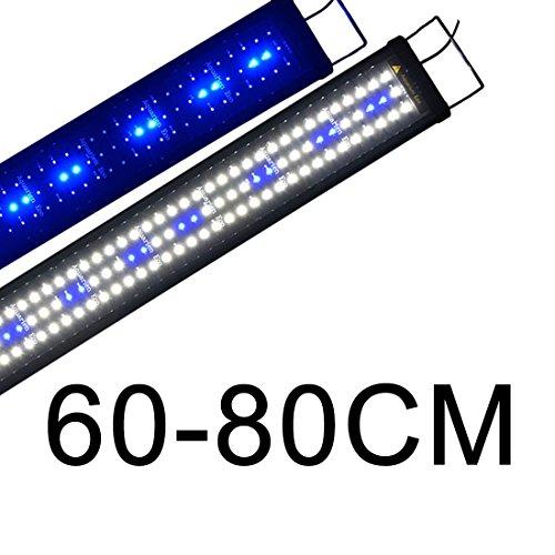 Powerdelux LED Aquarium Beleuchtung 60-80CM, Aquarium LED Lampe mit Mondlicht, LED Licht für Süßwasser-Aquarien