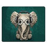 NNAKAPAKA Anti-Rutsch-Mauspad Gummi Quadratisches Mousepad Desktop-Notebook Computer-Mausmatte zum Arbeiten und Spielen 260X210mm mit genähter Kante (Grüner Elefant Green Elephant Square)