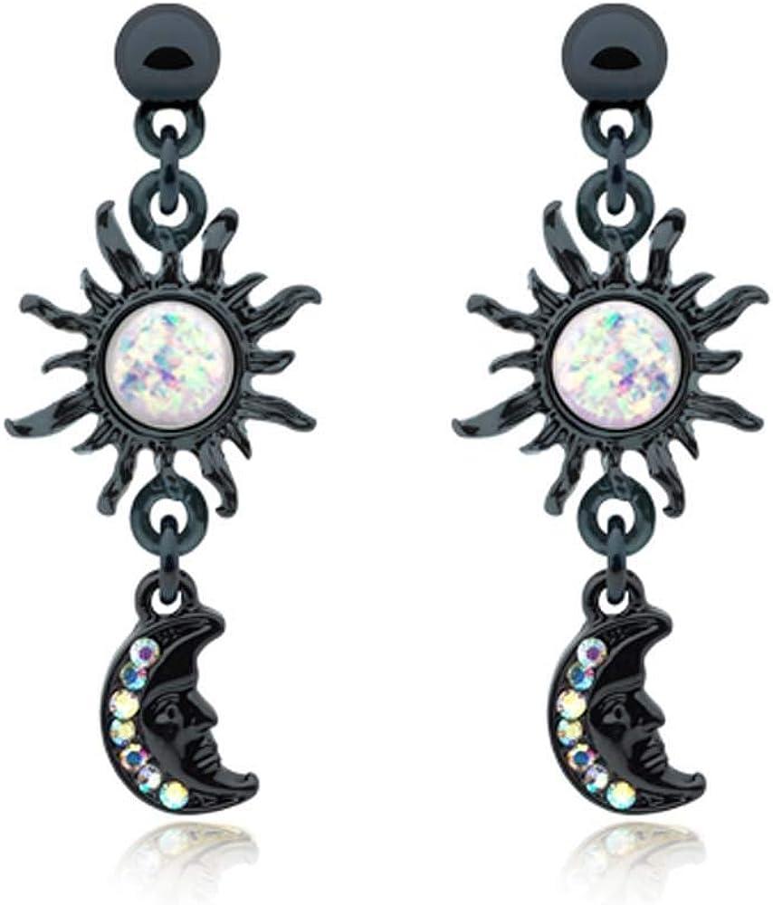 Covet Jewelry Black Celestial Sun Moon Dangle Ear Stud Earring