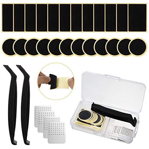 RosewineC 30 Pack Pre-glued Patch Puncture Repair Kit Bike Tire Patch, Self Adhesive Bicycle Rubber Glueless Patches with Metal Rasp, Tire Levers Portable Case for Mountain Road Bike Inner Tube