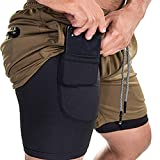 EVERWORTH Men's 2-in-1 Bodybuilding Workout Shorts Lightweight Gym Training Short Running Athletic Jogger with Zipper...