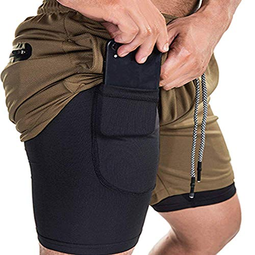 EVERWORTH Men's 2-in-1 Bodybuilding Workout Shorts Lightweight Gym Training Short Running Athletic Jogger with Zipper Pockets Brown XL Tag 3XL