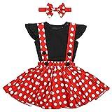 OwlFay Bebé Niñas Vestido Lunares Polka Dots Tutu+ Mameluco Romper + Diadema Traje de Princesa Fiesta para Carnaval Cumpleaño Natale 18-24 Meses