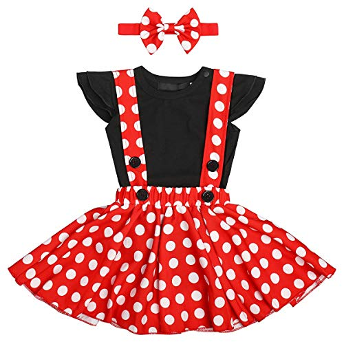 IBTOM CASTLE Polka Dots Tutu Costume Romper for Baby Girl Princess 1st Birthday Party,Dress Up w/Overall Suspender Skirt,Bowknot Headband 0-6 Months